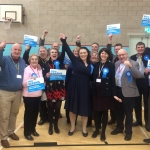 Alicia surrounded by supporters at the Count on Thursday 12th December